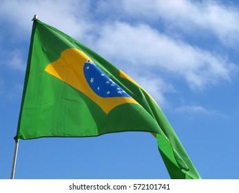 Brazil flag whit wind on blue sky