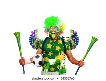 Brazil football fan in a red wig and horns