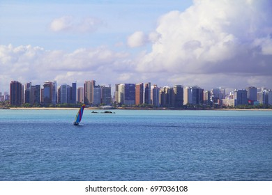 Brazil. Fortaleza. The view from the sea.  Fortaleza is in the northeast of Brazil, on the Atlantic coast. Thanks to the warm tropical climate, warm ocean water and 34 kilometers of sandy beaches,