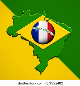 brazil, France   flag map and yellow green background