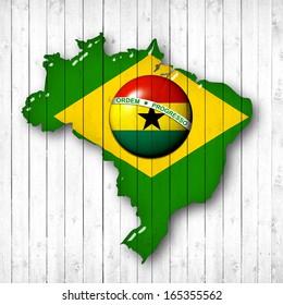 brazil, Ghana flag map, wood white background