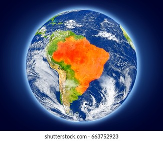 Brazil highlighted in red on planet Earth. 3D illustration with detailed planet surface. Elements of this image furnished by NASA.
