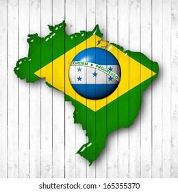 brazil, Honduras flag map, wood white background