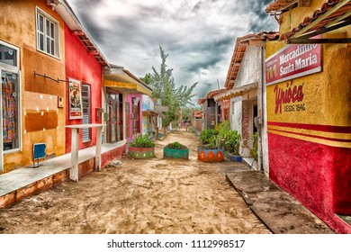 Jericoacoara/Ceará/ Brazil -  January 11, 2016: Jericoacoara with its shops and narrow streets in the sand of the beach