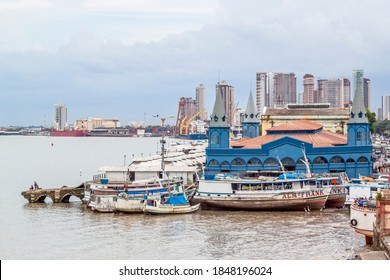 Belém, Pará, Brazil, January, 2015. Coast Line of Belem do Para, view of famous Ver-o-peso Market (Blue building) and boats at Guajara Bay, north of Brazil.