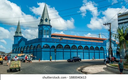 Belém, Pará, Brazil, January, 2015. View of famous Ver-o-peso Market (Blue building) near Guajara Bay, north of Brazil.