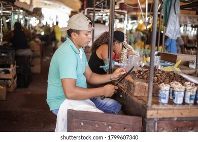 Belém, Brazil - Jul 2020 - Brazil Nuts is native to the Amazon rainforest and is sold on the Ver-o-peso market.