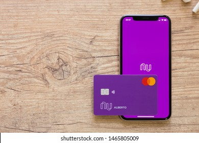 Brazil; July 29, 2019: Nubank logo on the screen of the mobile device. Nubank is a Brazilian company in the segment of financial services and digital bank. largest fintech in Latin America.