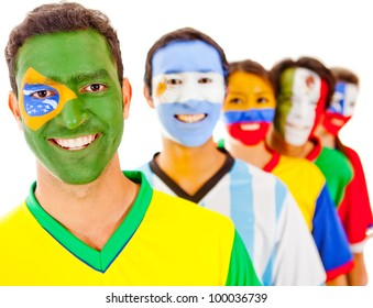 Brazil leading a Latin american team - isolated over a white background