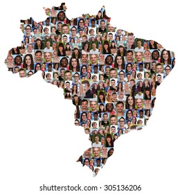 Brazil map multicultural group of young people integration diversity isolated