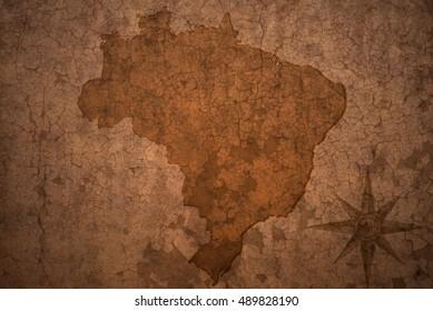 brazil map on a old vintage crack paper background