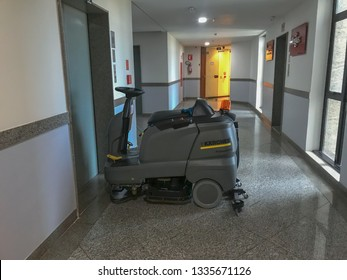 Brasília, Brazil, March 12, 2019: High technology industrial machine for cleaning delicate floors, it can be used as a vacuum cleaner or for shine. Ideal for cleaning in narrow places.