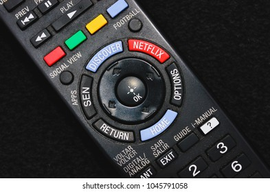 Brazil - March 13, 2018: Black smart tv remote control with the Netflix button.