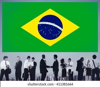Brazil National Flag Business People Team Concept