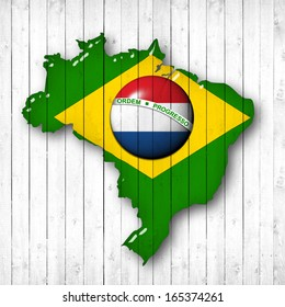 brazil, Netherlands flag map, wood white background