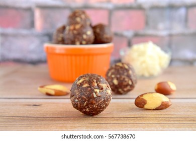 Brazil nut coconut chocolate energy balls