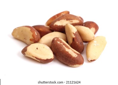 Brazil nuts (Bertholletia excelsa) isolated on white