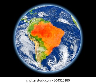 Brazil on planet Earth. 3D illustration with detailed planet surface. Elements of this image furnished by NASA.