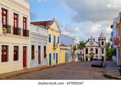 Brazil. Recife. Olinda. The Basilica and monastery of St. Benedict.  One of the most famous places in Olinda. The current Church , built in Baroque style.