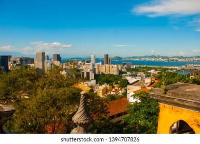 Brazil, Rio de Janeiro, Santa Teresa Neighbourhood. Top view of the city from the Ruins of the house Laurinda