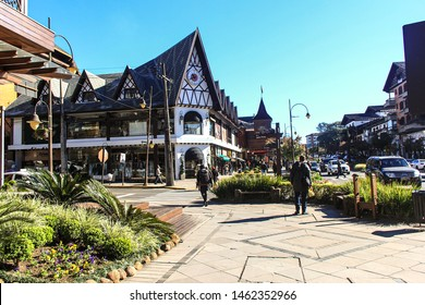 BRAZIL, RIO GRANDE DO SUL, GRAMADO - July 07, 2019: Gramado is a tourist city of Rio Grande do Sul in Brazil, much sought after in winter by cold weather, European influence and chocolates