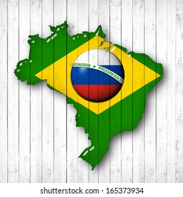 brazil, Russia flag map, wood white background
