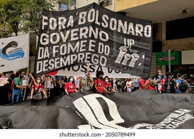 Brazil – September 7, 2021: Marchers gathered in Rio de Janeiro holding signs with slogans such as 'Bolsonaro out. Government of hunger and unemployment' to protest against president Jair Bolsonaro.