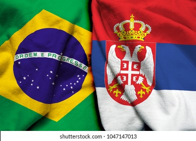 Brazil and Serbia flag together