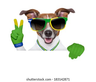brazil soccer dog  with victory  fingers in green