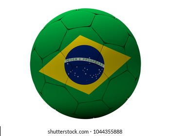 Brazil soccer football ball 3d rendering
