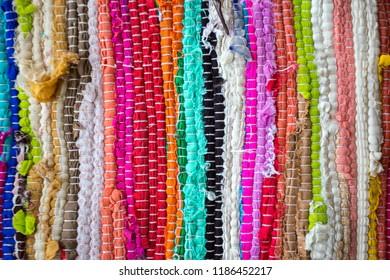brazil textiles souvenir, background of bright Brazilian rugs