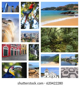 Brazil travel collage with beaches, jungle, Sao Paulo, Rio de Janeiro, Iguazu and Curitiba.