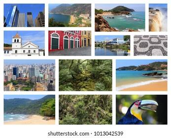 Brazil travel collage with Sao Paulo, Rio de Janeiro, Iguazu and Curitiba.