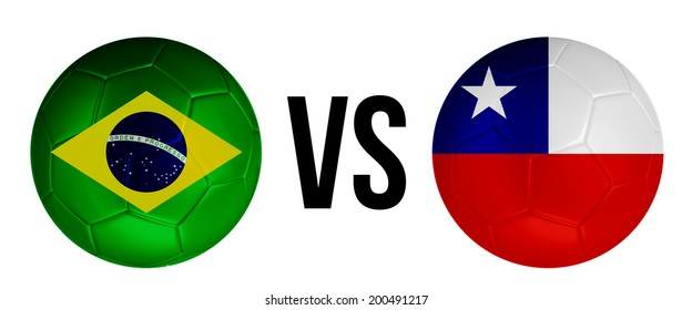 Brazil VS Chile soccer ball concept isolated on white background