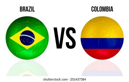 Brazil VS Colombia soccer ball concept isolated on white background with reflection