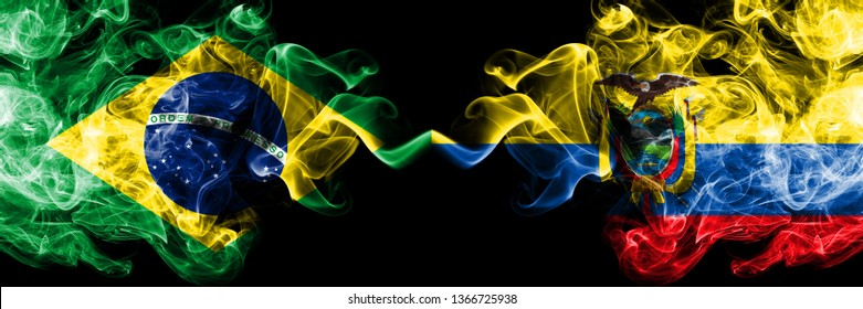 Brazil vs Ecuador, Ecuadorian smoke flags placed side by side. Thick colored silky smoke flags of Brazilian and Ecuador, Ecuadorian