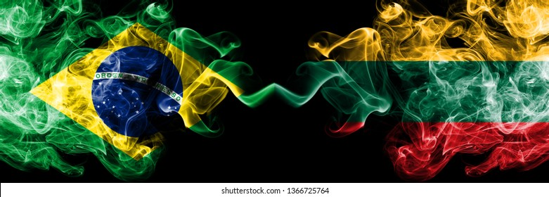 Brazil vs Lithuania, Lithuanian smoke flags placed side by side. Thick colored silky smoke flags of Brazilian and Lithuania, Lithuanian