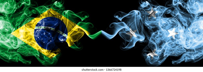 Brazil vs Micronesia, Micronesian smoke flags placed side by side. Thick colored silky smoke flags of Brazilian and Micronesia, Micronesian