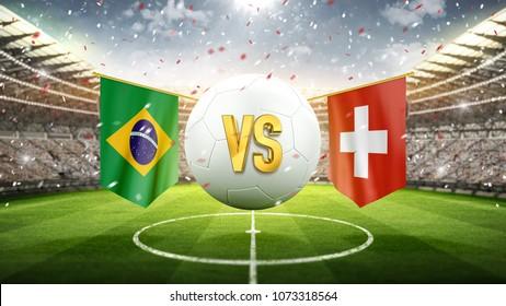 Brazil vs Switzerland. Soccer concept. White soccer ball with the flag in the stadium, 2018. 3d render