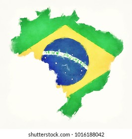 Brazil watercolor map with Brazilian national flag in front of a white background