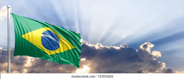 Brazil waving flag on blue sky. 3d illustration