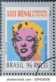 BRAZIL-CIRCA 1996: A stamp printed in Brazil shows the 23 International Biennial of Sao Paulo,portrait of Marilyn Monroe by Andy Warhol,circa 1996