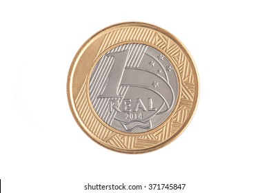 "Brazilian ""1 Real"" coin reverse 2014"