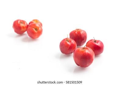 Brazilian Acerola Cherry isolated on white background