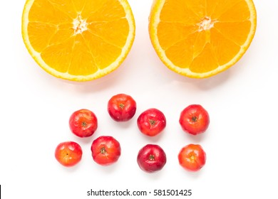 Brazilian Acerola Cherry and Orange Fruit isolated on white background