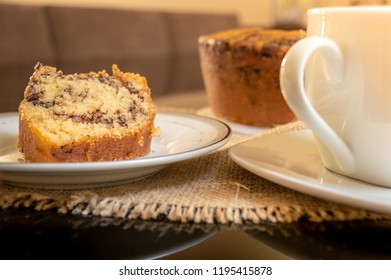 Brazilian anthill Cake (Formigueiro) and cup of coffee on a table served for coffee break