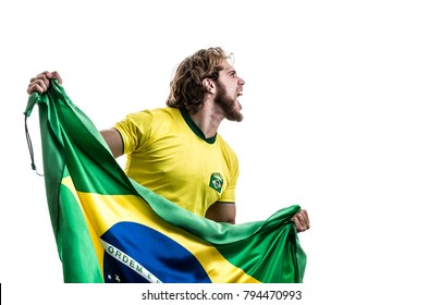 Brazilian athlete / fan celebrating on white background