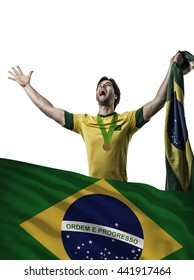 Brazilian Athlete Winning a golden medal with a brazilian flag in front.