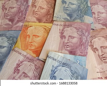 brazilian banknotes of different denominations, background and texture