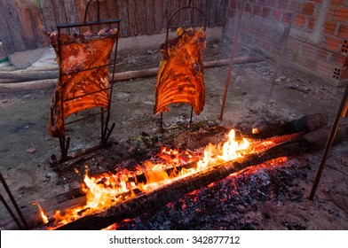 Brazilian Barbecue also known as Churrasco made by Gauchos, Brazil.